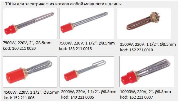 ТЭНы для электрических котлов
